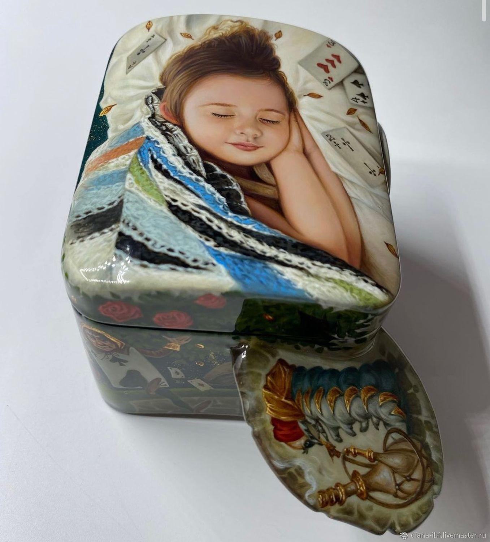 Шкатулка с лаковой миниатюрой «Алиса», Шкатулки, Москва,  Фото №1