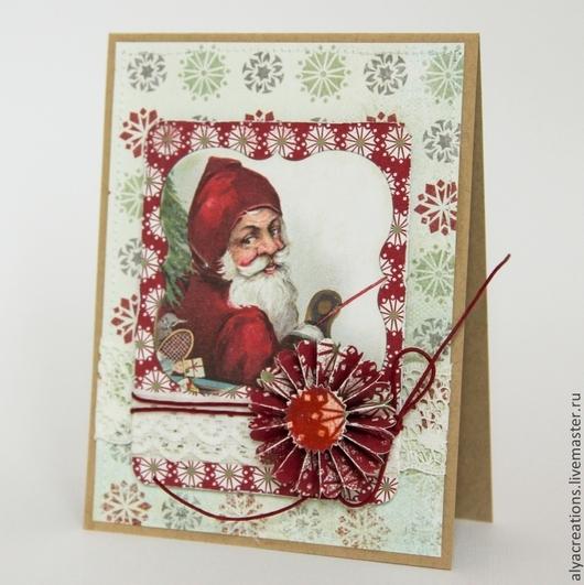 """Открытки к Новому году ручной работы. Ярмарка Мастеров - ручная работа. Купить Открытка """"Санта"""" в винтажном стиле. Handmade."""