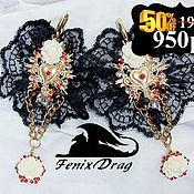 Украшения handmade. Livemaster - original item Earrings black lace black pearl Baroque heart Vintage style. Handmade.
