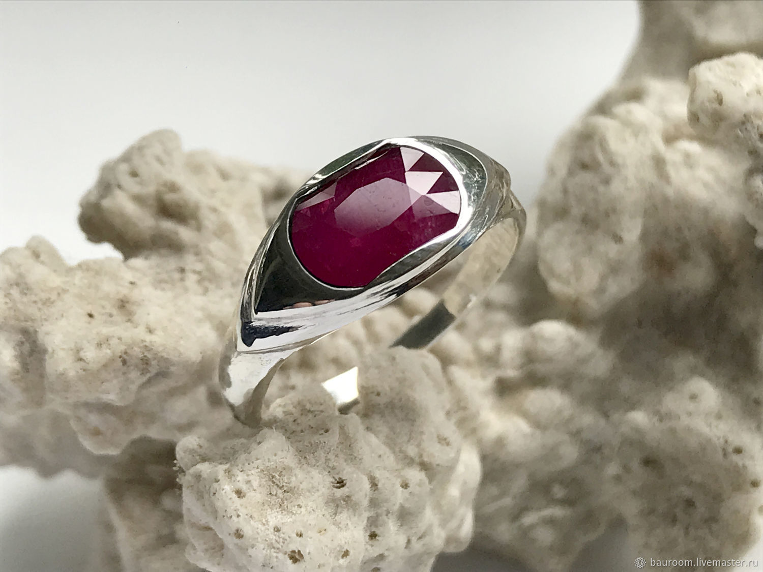 Ring with natural ruby 2,23 ct silver handmade, Rings, Moscow,  Фото №1