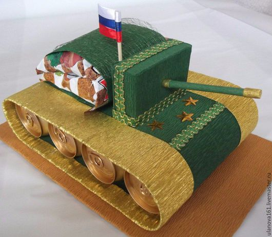Подарки для мужчин, ручной работы. Ярмарка Мастеров - ручная работа. Купить Танк и бинокль.. Handmade. Тёмно-зелёный, танк, сухарики