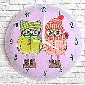 Часы классические ручной работы. Ярмарка Мастеров - ручная работа Часы настенные Совушки, часы ручной работы, детские. Handmade.