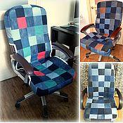 handmade. Livemaster - original item Denim chair cover. Handmade.
