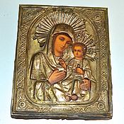 Винтаж handmade. Livemaster - original item Iverskaya icon of the mother of God tree lithography 19 in. Handmade.