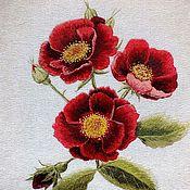 """Картины ручной работы. Ярмарка Мастеров - ручная работа Художественная гладь """"Галльские розы"""", вышитая картина. Handmade."""