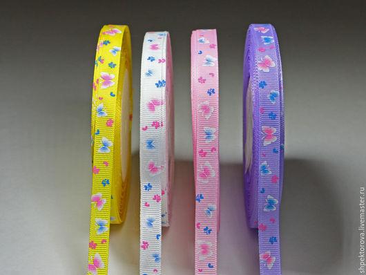 Другие виды рукоделия ручной работы. Ярмарка Мастеров - ручная работа. Купить Ленты репсовые с рисунком Бабочки2 10мм. Handmade.