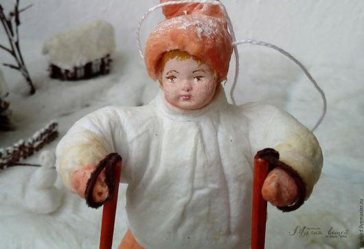 Новый год 2017 ручной работы. Ярмарка Мастеров - ручная работа. Купить Ватная елочная игрушка СПОРТСМЕН ЕВГЕША. Handmade. на елку