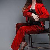Одежда handmade. Livemaster - original item SS`18 NEW! Red satin pants. Handmade.