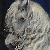 Картины и панно ручной работы. Ярмарка Мастеров - ручная работа Картина из шерсти Белый конь. Handmade.