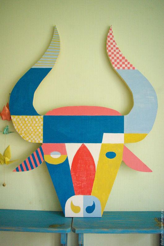 Интерьерные  маски ручной работы. Ярмарка Мастеров - ручная работа. Купить БЫК. Handmade. Комбинированный, бык, панно, маска, Декор