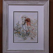 """Картины и панно ручной работы. Ярмарка Мастеров - ручная работа Вышью на заказ картину """"Девушка с лошадью"""". Handmade."""