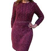 Одежда ручной работы. Ярмарка Мастеров - ручная работа Платье вязаное  МАРСАЛА платье  с косами  платье-туника теплое платье. Handmade.