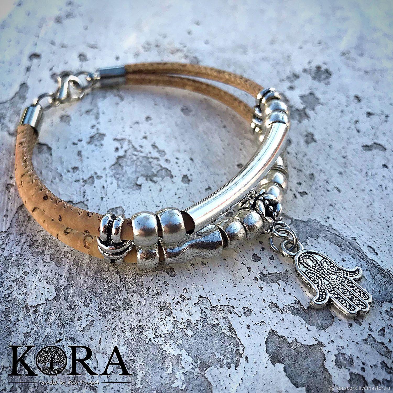 Bracelet of Portuguese cork handmade Hamsa B0112w/p2, Bead bracelet, Moscow,  Фото №1