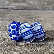 """Украшения ручной работы. Ярмарка Мастеров - ручная работа """"Сине-белые"""" шармы для браслета пандора Pandora. Handmade."""