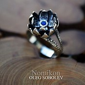 Украшения handmade. Livemaster - original item Lotus ring with sapphire.. Handmade.
