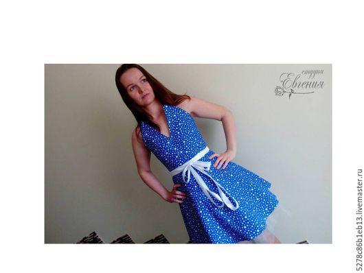 Платья ручной работы. Ярмарка Мастеров - ручная работа. Купить Платье синее в горошек на корсете (корсаже)  к выпускному балу. Handmade.