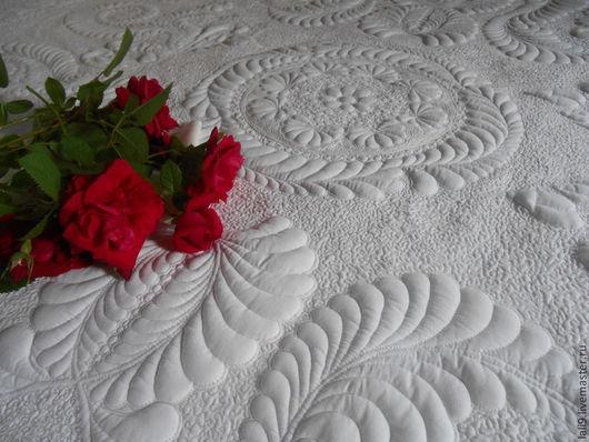 """Текстиль, ковры ручной работы. Ярмарка Мастеров - ручная работа. Купить Покрывало """"Каменный цветок"""". Handmade. Белый, покрывало в спальню"""