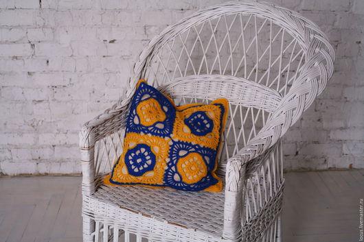 Текстиль, ковры ручной работы. Ярмарка Мастеров - ручная работа. Купить Желто-синяя ажурная наволочка крючком. Handmade. Комбинированный