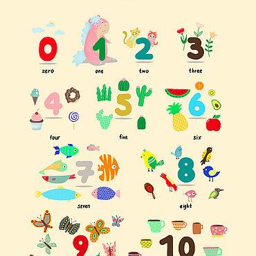 """Дизайн и реклама ручной работы. Ярмарка Мастеров - ручная работа Обучающий постер """"Числа"""". Handmade."""