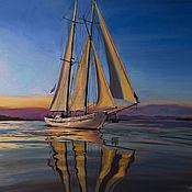 Картины и панно handmade. Livemaster - original item Oil painting on canvas Sailboat. Oil painting. To buy. Handmade.