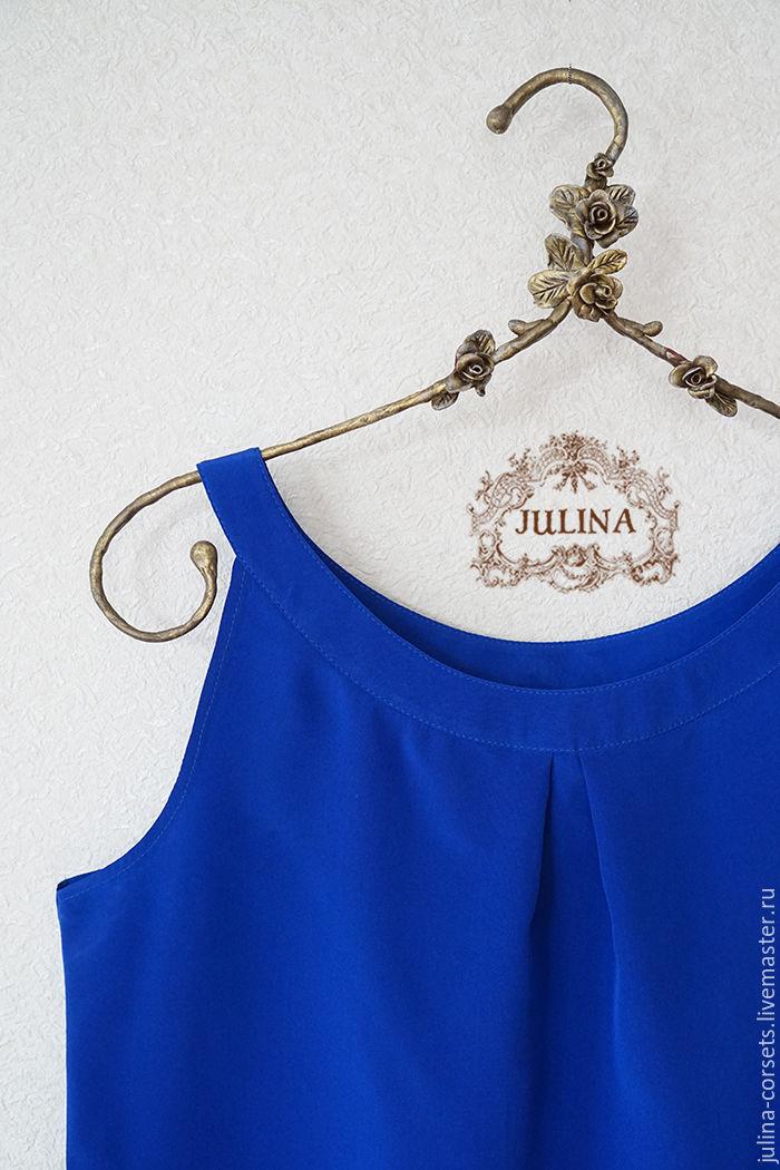 Синяя блузка из шелка купить
