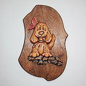"""Картины и панно ручной работы. Ярмарка Мастеров - ручная работа Панно """"Собачка с бабочкой"""". Handmade."""