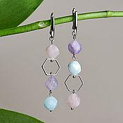 Украшения handmade. Livemaster - original item Asymmetric earrings with amethyst, aquamarine and rose quartz. Handmade.