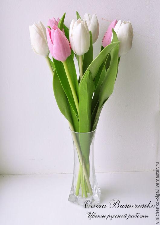 Букеты ручной работы. Ярмарка Мастеров - ручная работа. Купить Букет тюльпанов. Handmade. Розовый, букет из полимерной глины