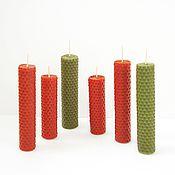 Подарки к праздникам ручной работы. Ярмарка Мастеров - ручная работа Свечи медовые из вощины - восковые свечи - красный зеленый оранжевый. Handmade.