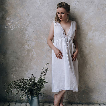"Одежда ручной работы. Ярмарка Мастеров - ручная работа Льняная ночная сорочка ""Emmanuelle"" белая. Handmade."