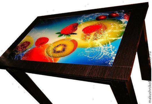 Мебель ручной работы. Ярмарка Мастеров - ручная работа. Купить Стол со стеклянной столешницей.. Handmade. Коричневый, стол обеденный