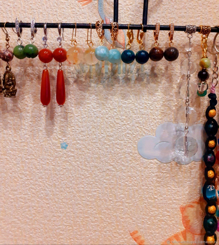 Длинные и короткие серьги с природными камнями от 4 до 20 мм камни, Серьги классические, Москва,  Фото №1