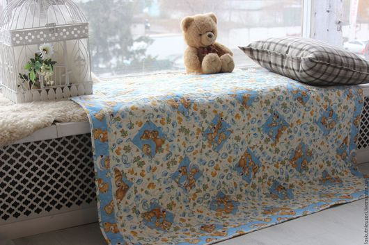"""Для новорожденных, ручной работы. Ярмарка Мастеров - ручная работа. Купить Одеяло детское """"Мишки"""". Handmade. Комбинированный"""