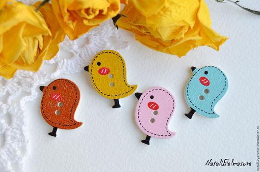 Куклы и игрушки ручной работы. Ярмарка Мастеров - ручная работа. Купить Пуговицы птички. Handmade. Пуговицы, детские пуговицы