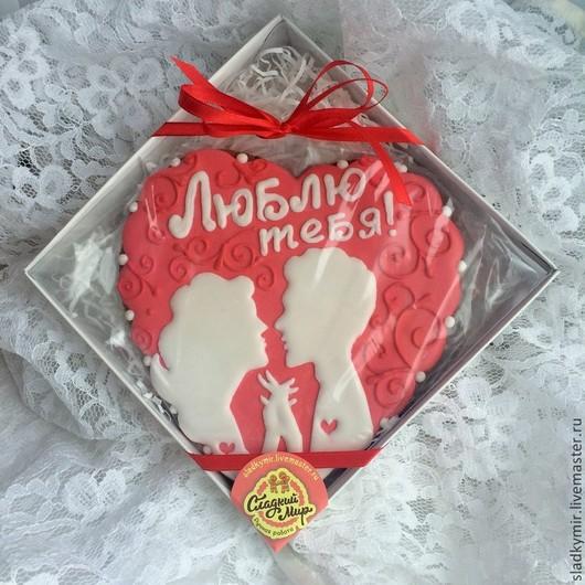 """Кулинарные сувениры ручной работы. Ярмарка Мастеров - ручная работа. Купить Сердце 15 см """"Вкус любви"""" -  имбирное печенье , пряник. Handmade."""