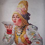 Картины и панно ручной работы. Ярмарка Мастеров - ручная работа Боярышня за чаем. Handmade.