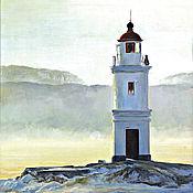 Картины и панно handmade. Livemaster - original item oil painting Tokarevskogo lighthouse, g. Vladivostok, Russia. Handmade.