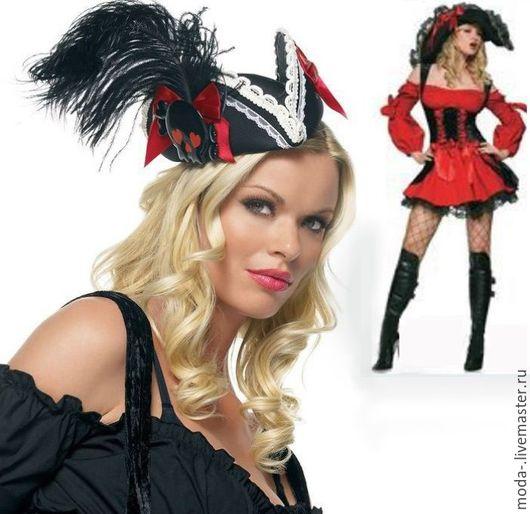 Карнавальные костюмы ручной работы. Ярмарка Мастеров - ручная работа. Купить Платье и Шляпка страстной пиратки новогодняя/карнавальная. Handmade. Комбинированный