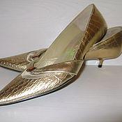 Винтаж ручной работы. Ярмарка Мастеров - ручная работа Золотые туфельки лодочки на маленькой шпильке 35 размер. Handmade.