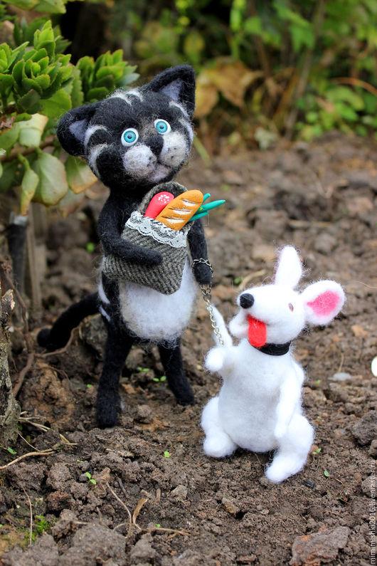 Игрушки животные, ручной работы. Ярмарка Мастеров - ручная работа. Купить кот Мурик  со своим питомцем из Семейства  Мурлыкиных. Handmade.