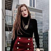 Одежда handmade. Livemaster - original item Button Front Skirt. Red color. Handmade.