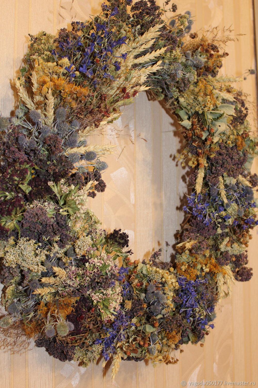 A wreath of dried flowers. herbs berries 52 cm, Wreaths, Kaluga,  Фото №1