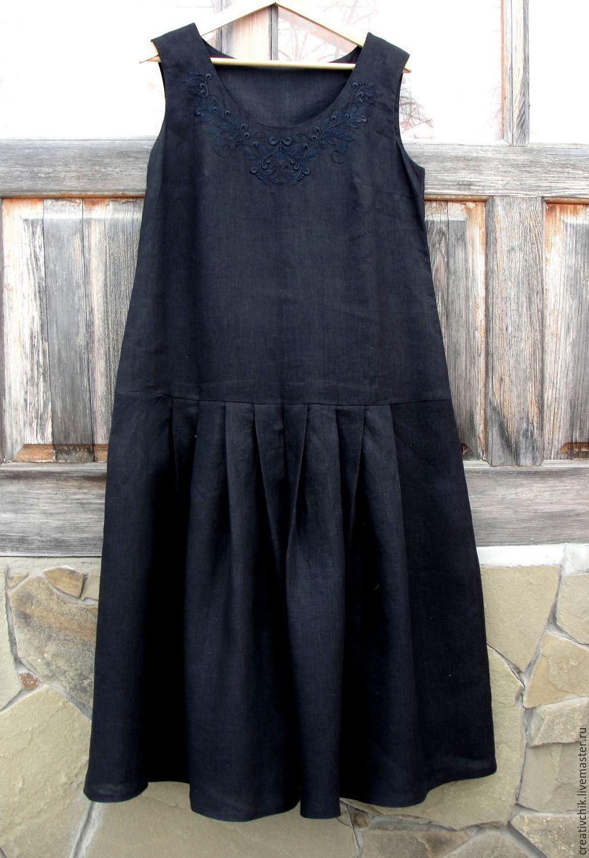 a6fa0ec41ee9 Платья ручной работы. Ярмарка Мастеров - ручная работа. Купить Платье летнее  льняное Черное на ...