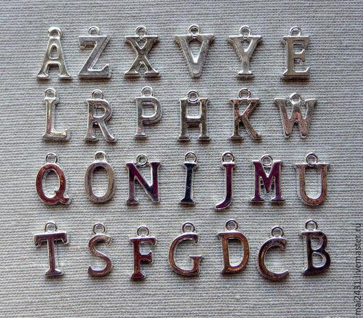 Для украшений ручной работы. Ярмарка Мастеров - ручная работа. Купить Подвеска алфавит/буквы, цвет серебряный. Handmade. Подвеска, украшение