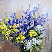 Картины и панно handmade. Livemaster - original item Oil painting Bouquet of irises. Handmade.