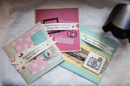 Подарочная упаковка ручной работы. Ярмарка Мастеров - ручная работа. Купить Сертификаты на фотосессию. Handmade. Подарок, комбинированный, фотосъемка, скрапукрашения