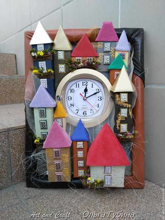 """Часы для дома ручной работы. Ярмарка Мастеров - ручная работа. Купить Часы """"Сказочный городок"""". Handmade. Комбинированный, оригинальный подарок"""