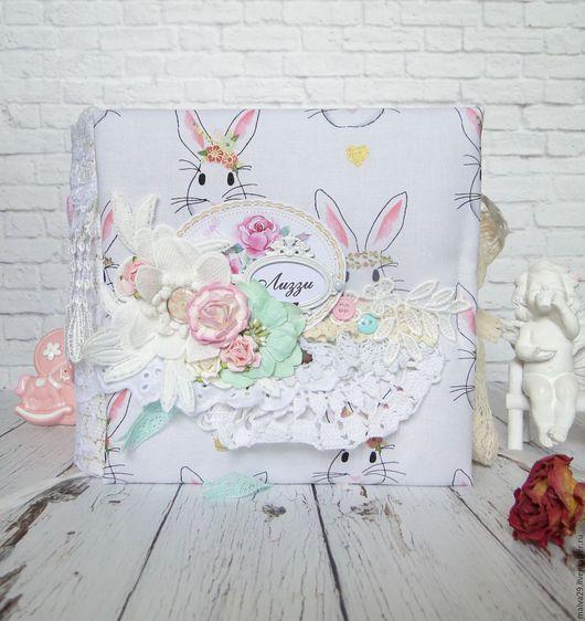 """Фотоальбомы ручной работы. Ярмарка Мастеров - ручная работа. Купить Альбом для фото """"Baby Shabby Bunny"""". Handmade. Комбинированный"""