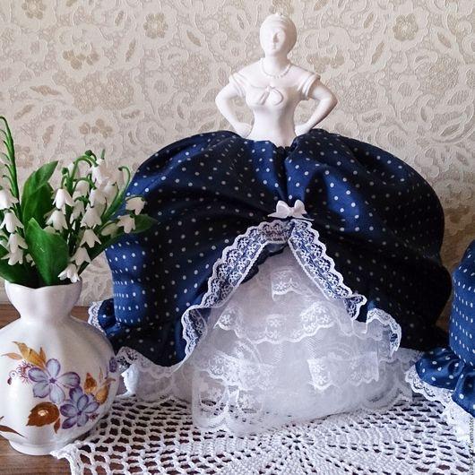 """Кухня ручной работы. Ярмарка Мастеров - ручная работа. Купить Кукла на чайник """"Платье в горошек""""-2. Handmade. Тёмно-синий"""