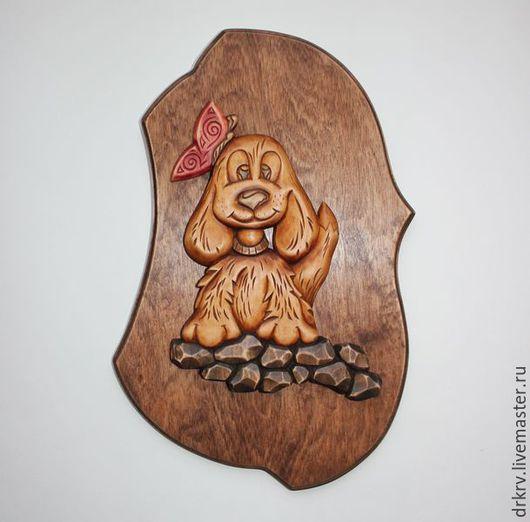 """Животные ручной работы. Ярмарка Мастеров - ручная работа. Купить Панно """"Собачка с бабочкой"""". Handmade. Комбинированный, собачка, пес"""